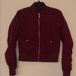 H&M burgundy bomber jacket, worn once